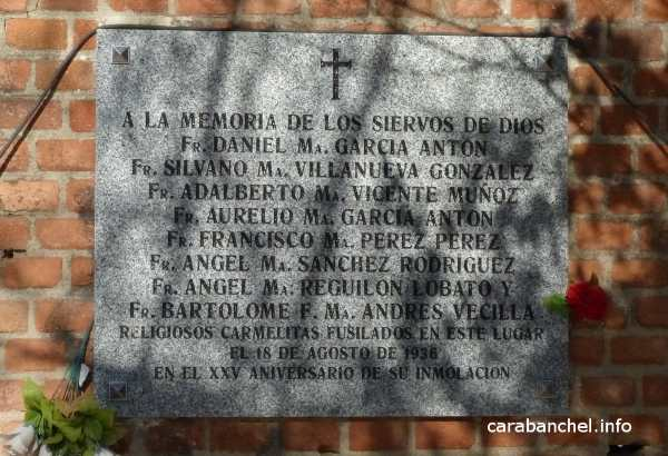 Placa a los Carmelitas fusilado en Carabanchel